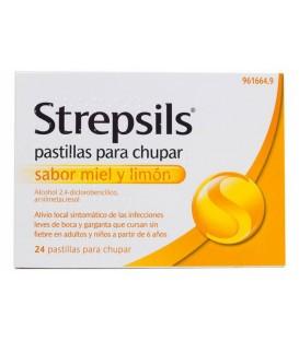 Strepsils 24 Pastillas para Chupar Miel limon